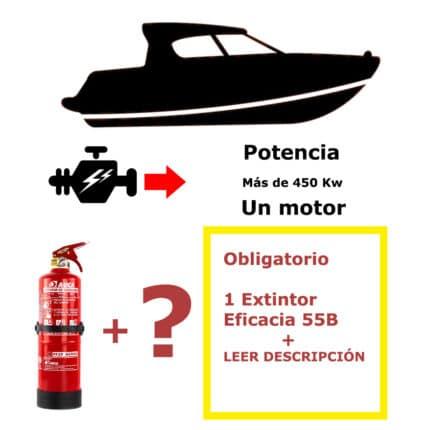 Pack de extintor para barco. Potencia mayor de 450 Kw. Un motor