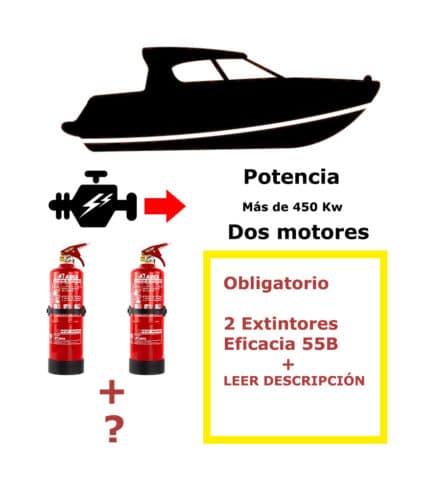 Pack de extintores para barco. Potencia mayor de 450 Kw. Dos motores