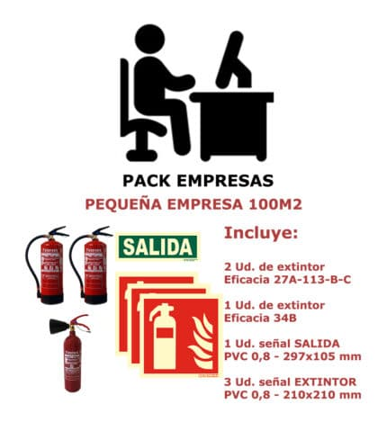 Pack de extintores + señales para pequeña empresa de 100 m2