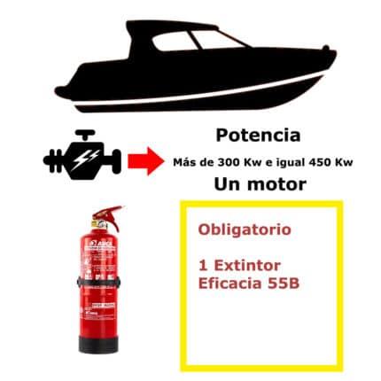 Pack de extintor para barco. Potencia mayor de 300 Kw e igual a 450 Kw. Un motor