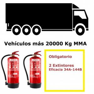 Pack de extintores para vehículos de más de 20000 Kg MMA