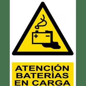 Señal / Cartel de Atención. Baterías en carga