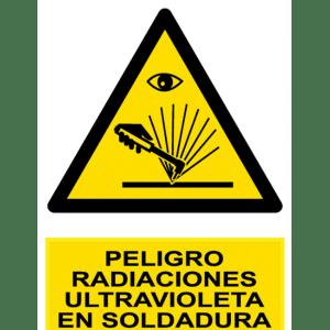 Señal / Cartel de Peligro. Radiaciones UV en soldadura