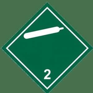 Señal de Gas no inflamable no tóxico. División 2.2. Blanca