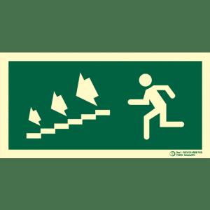 Señal / Cartel de Salida escalera evacuación. Clase B