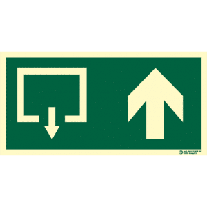 Señal / Cartel de Salida con flecha. Pictograma. Clase B