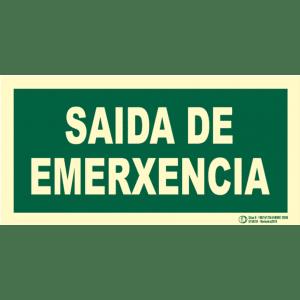 Señal / Cartel Saida de emerxencia. Monolingüe Clase B