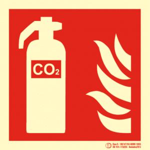 Señal / Cartel de Extintor CO2 luminiscente. Clase B