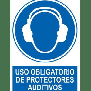 Señal / Cartel de Uso obligatorio protectores auditivos