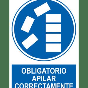 Señal / Cartel de Obligatorio apilar correctamente