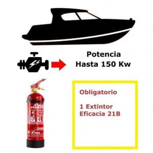 Pack de extintor para barco. Potencia hasta 150 Kw