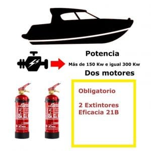Pack de extintores para barco. Potencia mayor de 150 Kw e igual a 300 Kw. Dos motores