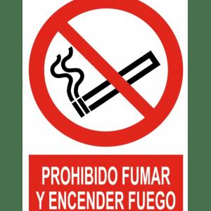 Señal / Cartel de Prohibido fumar y encender fuego