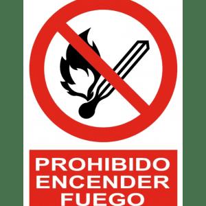 Señal / Cartel de Prohibido encender fuego