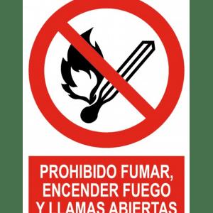 Señal / Cartel de Prohibido fumar encender fuego y llama