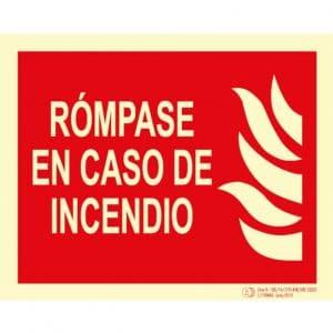 Señal / Cartel de Rómpase en caso de Incendio