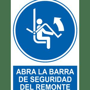Señal / Cartel de Abran barra de seguridad del remonte