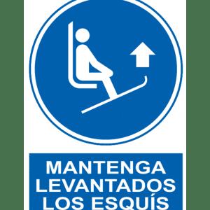 Señal / Cartel de Mantenga levantados los esquís