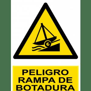 Señal / Cartel de Peligro rampa de botadura