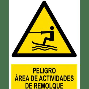 Señal / Cartel de Peligro área actividades remolque