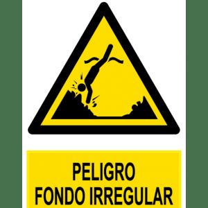 Señal / Cartel de Peligro fondo irregular